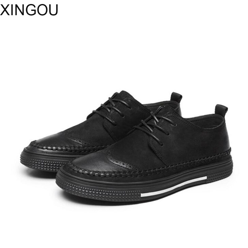 XINGOU New 2018 Spring Bullock men's shoes retro flat Genuine Leather male shoes lace round men casual shoes free shipping 2016 spring summer new old leather lace round japanese casual shoes retro fashion leather shoes
