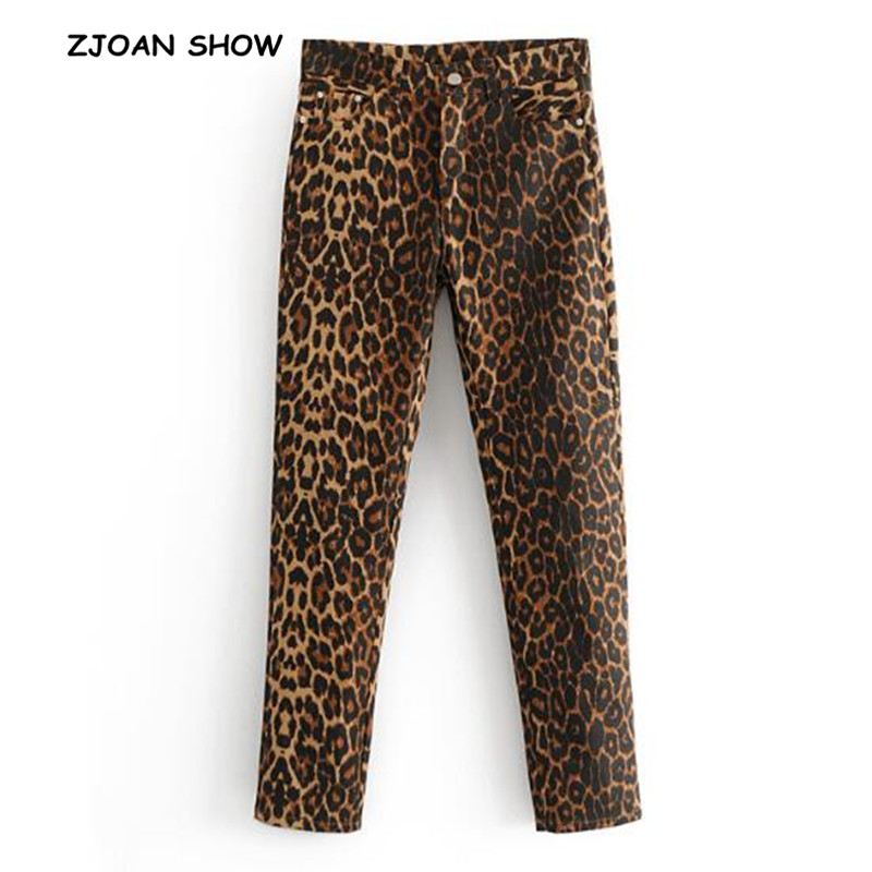 2018 New Women Vintage Skinny Leopard   Jeans   Middle Waist Slim Fit Stretch Denim Pencil Pants Full Length Deinm Tight Trousers
