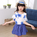 2015 New summer Style Children's Two Piece Suit Girl's skirt+vest suit Big Child cotton Maple Pattern Set  Wholesale