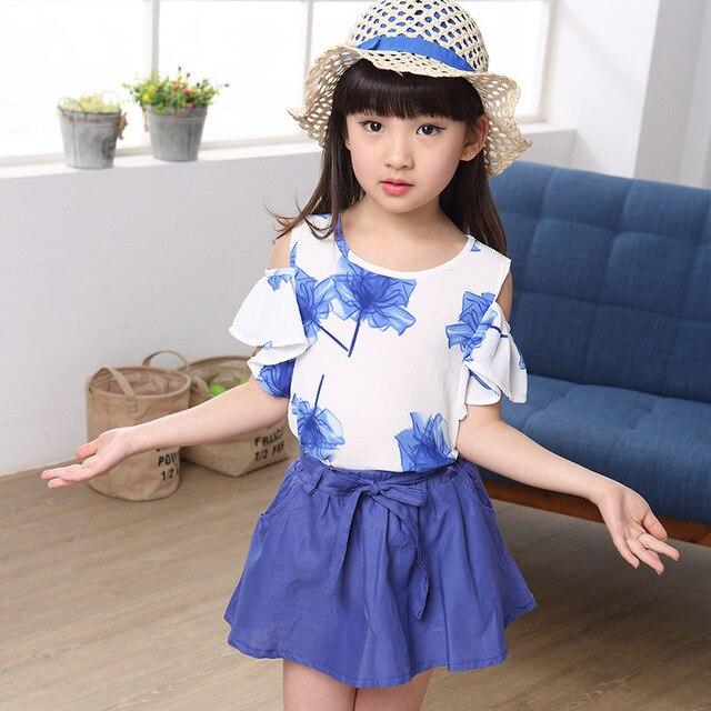 2015 New summer Style Children's Two Piece Suit Girl's skirt+vest suit Big Child cotton Maple Pattern Set  Wholesale