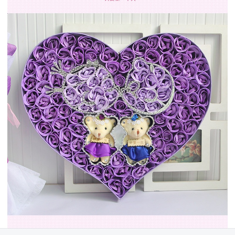 ФОТО FREE SHIPPING hot saleRomantic love teddy bear and colorful roses soap flowers Valentine's Day Mother's day gift