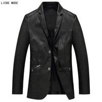 Spring Autumn Mens Business Pu Leather Blazer Jacket Middle Age Slim Blazer Men Faux Leather Coat Father Husband Black Khaki Red