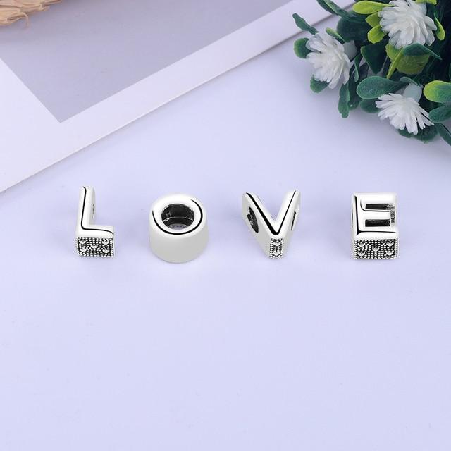 Original 100% 925 Sterling Silver Bead Charm A-Z 26 Letters Charms Alphabet Crown O Fit Pandora Bracelets Women Diy Jewelry 2