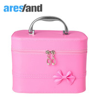 Aresland New Design Fashion Bowknot Makeup Box Women's Cosmetics Case Bag Desk Organizer Portable Case Tools to Storage Package