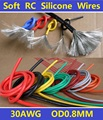 30AWG Flexible Soft Tinned Copper Silicone Wire RC Cable High Temperature UL Free Shipping - 5 Meters