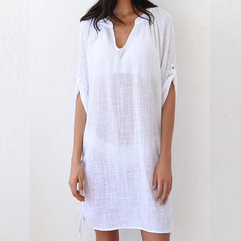 Melflow White Shirt Dress Women Summer Casual Daytime Beach Dress Ladies Swimwear Cover Ups Party Sexy Mini Dress Vestidos in Dresses from Women 39 s Clothing
