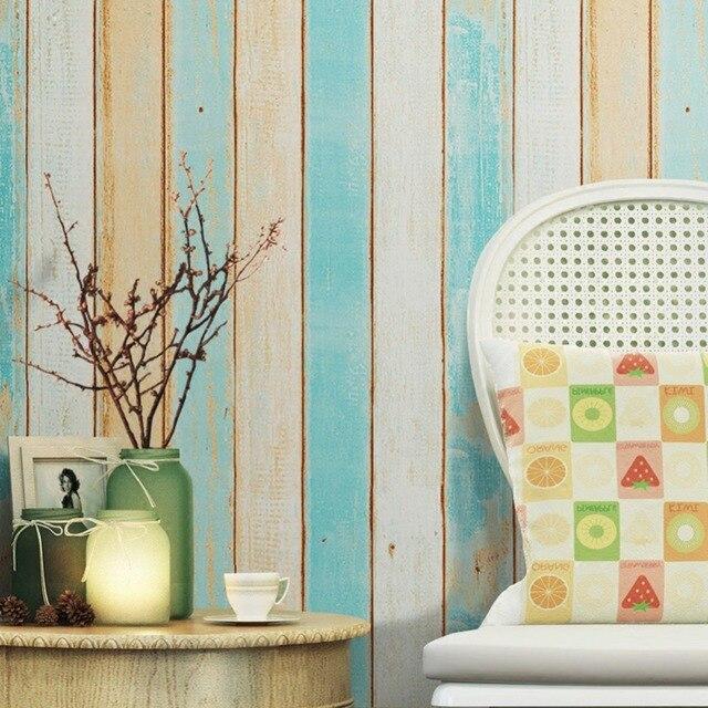 Haokhome Moderne Holz Streifen Panel Peel Und Stick Tapete Blau/Tan/Braun/ Creme