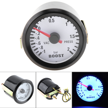 цена на 6031BL 2 52mm Universal 12V LED Blue Smoke Len -1~2 Bar Turbo Boost Gauge Turbo Boost Meter with Sensor for Car/Boat/Truck/ATV
