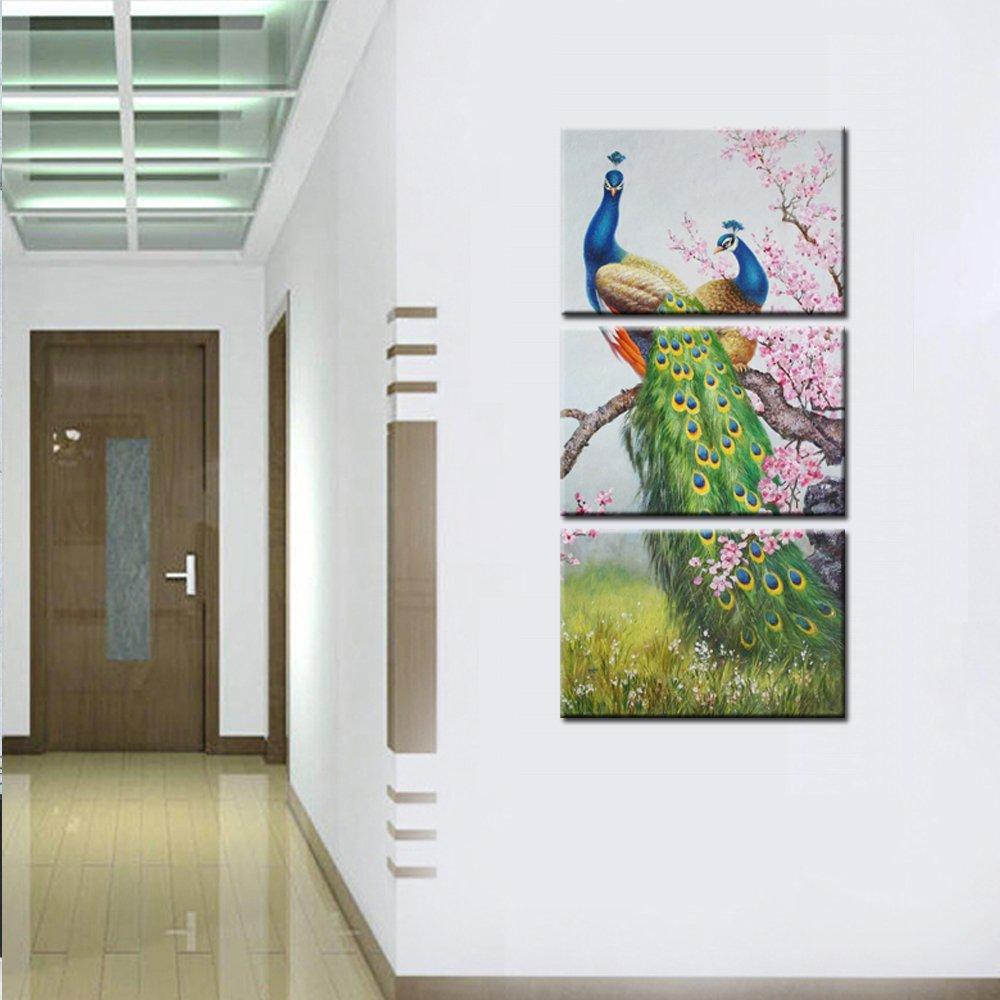Dier Canvas Art Prints Pauw en Bloemen Wall Art Canvas Schilderen Voor Woonkamer Home Decor 3 Panelen Drop verzending - 2