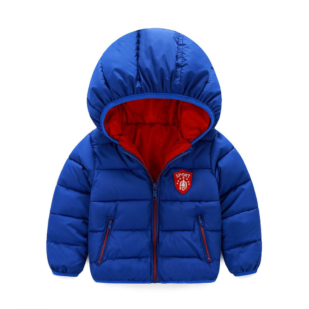 Casual 2017 New Winter Baby Boys Outerwear Down Coats For Children Cotton Padded Hooded Jacket 2-6 Years Baby Winter Clothes