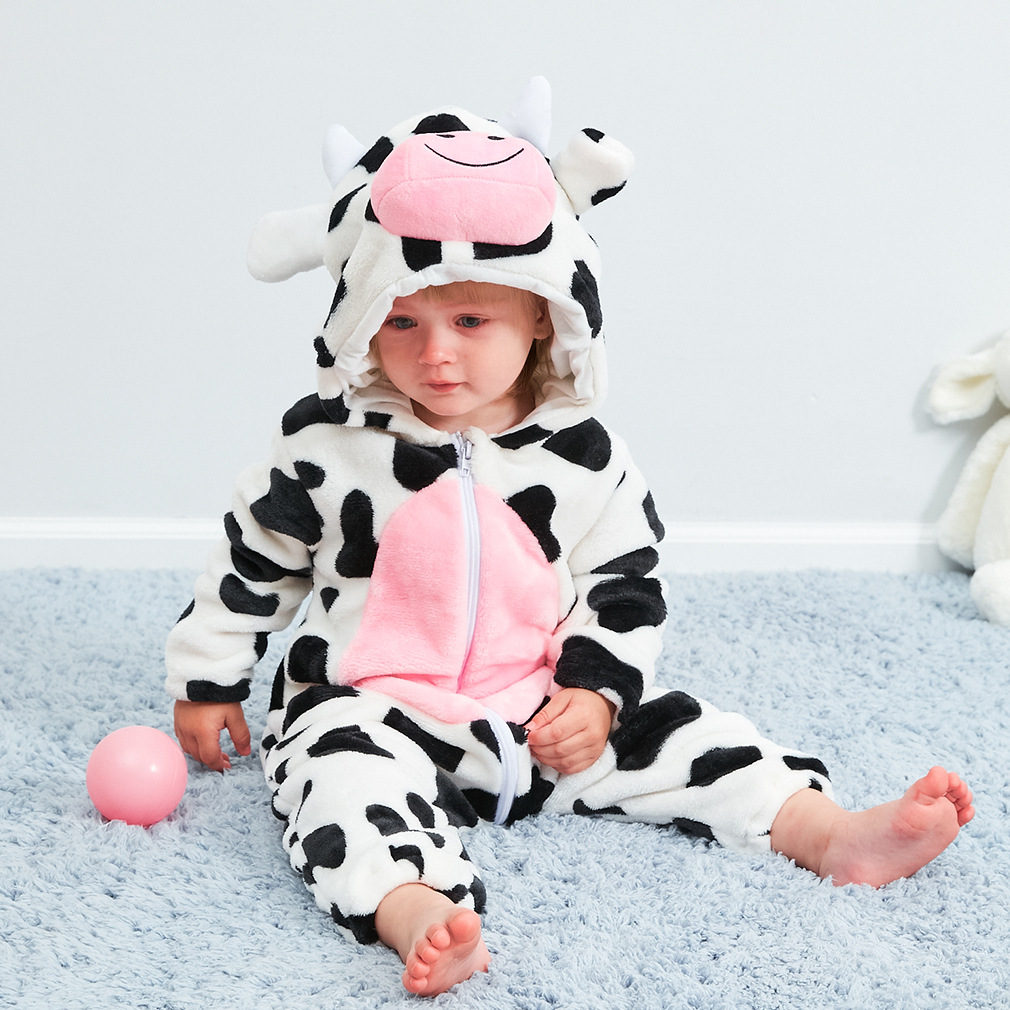 Cute Cartoon Flannel Baby Rompers Novelty Cow Cotton Boy Gir