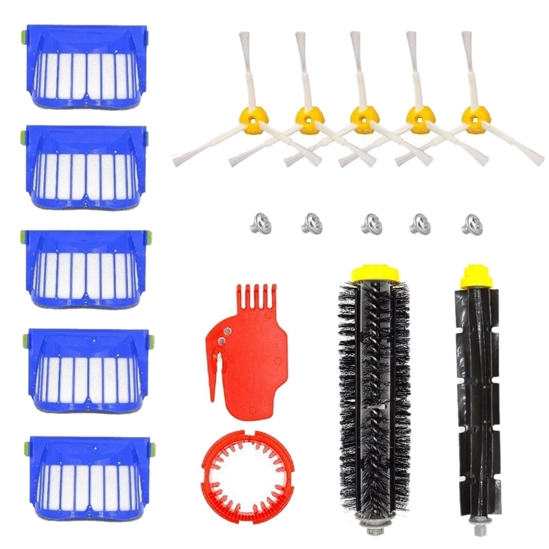 Replacement Parts For Irobot Roomba 650 655 660 620 630 645 Vacuums  1Pcs Flexible Beater Brush 1Pcs Bristle Brush 5Pcs Filter|Vacuum Cleaner Parts| |  - title=