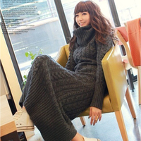 2018 clothing factory direct group of Korean piles of knitted sweater slim turtleneck collar dress wholesale long twist