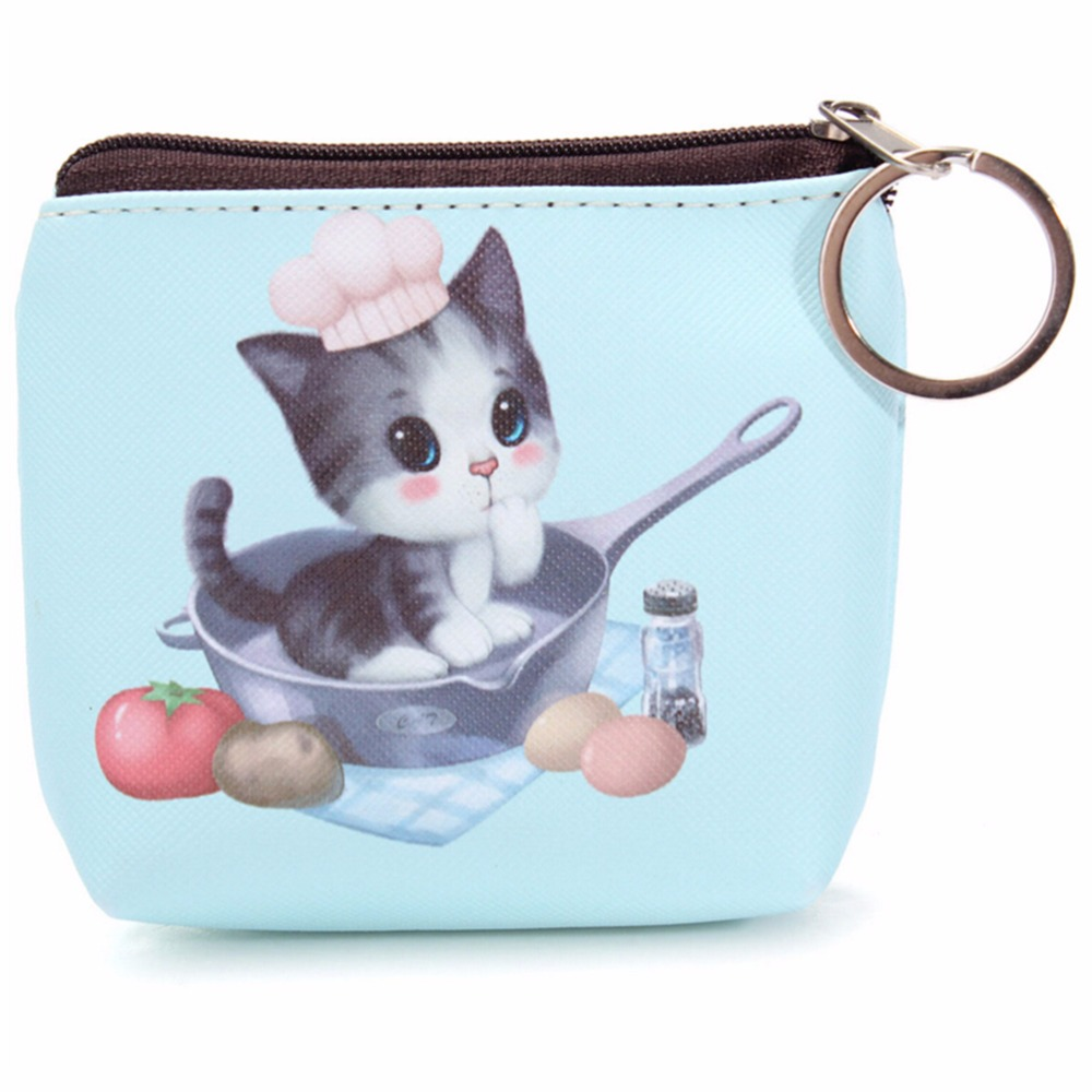 6 Style Women Coin Purses Lovely Dog Cat Face Cute Girl Animal Mini Bag Key Ring Case Zipper Wallet Pouch Change Purse wholesale стоимость