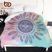 BeddingOutlet Mandala Duvet Cover King Size Pink and Blue Bedspreads Bohemian Feathers Printed Girly Bed Cover Bedclothes 1pc(China)