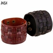 JINSE New Handmade Genuine Leather Bracelets Fashion Punk Wide Cuff Bracelets & Bangle For Men Jewelry Accessory HQ077