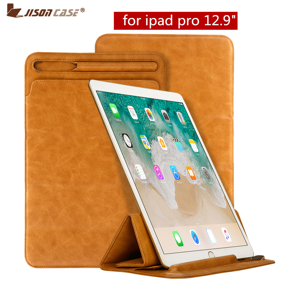 Jisoncase Luxury Leather Sleeve Case for iPad Pro12.9 inch Pouch Bag Protective Cover with Pencil Slot Holder for ipad 2018 case цена