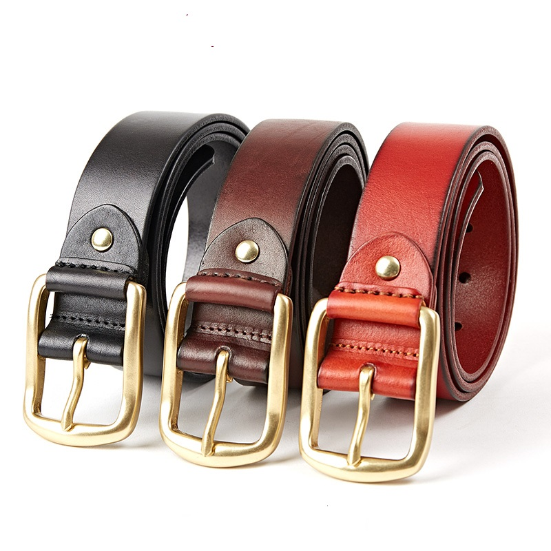 143 New Fashion Top Layer Leather Wide leather Belt business Men's Belt Solid Color Pin Buckle Belt