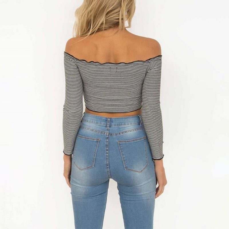 5fa4c740f21 2017 New Girls Stylish Long Sleeve Slash Neck Off Shoulder Striped Ruffle Crop  Top Tee Shirt Sweet Style -in T-Shirts from Women's Clothing on ...