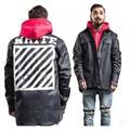 2017 new fashion brand men kanye west Off White hip hop jackets PU coat thrasher justin clothing stripe 13 badge windbreaker