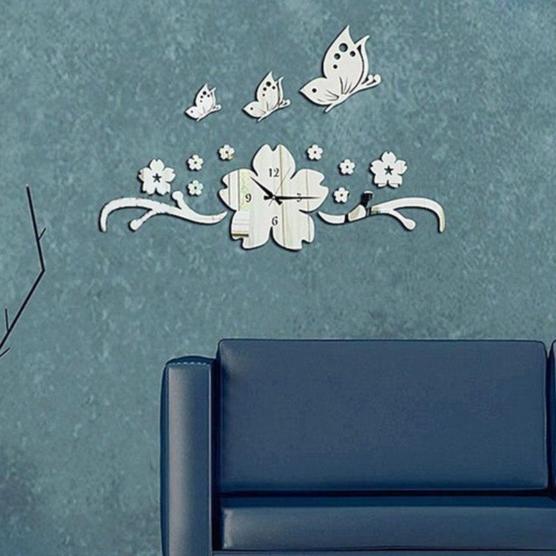 nueva flor de mariposa d diy reloj de pared de diseo moderno de acrlico espejo wall decal pegatinas para el hogar decoracin
