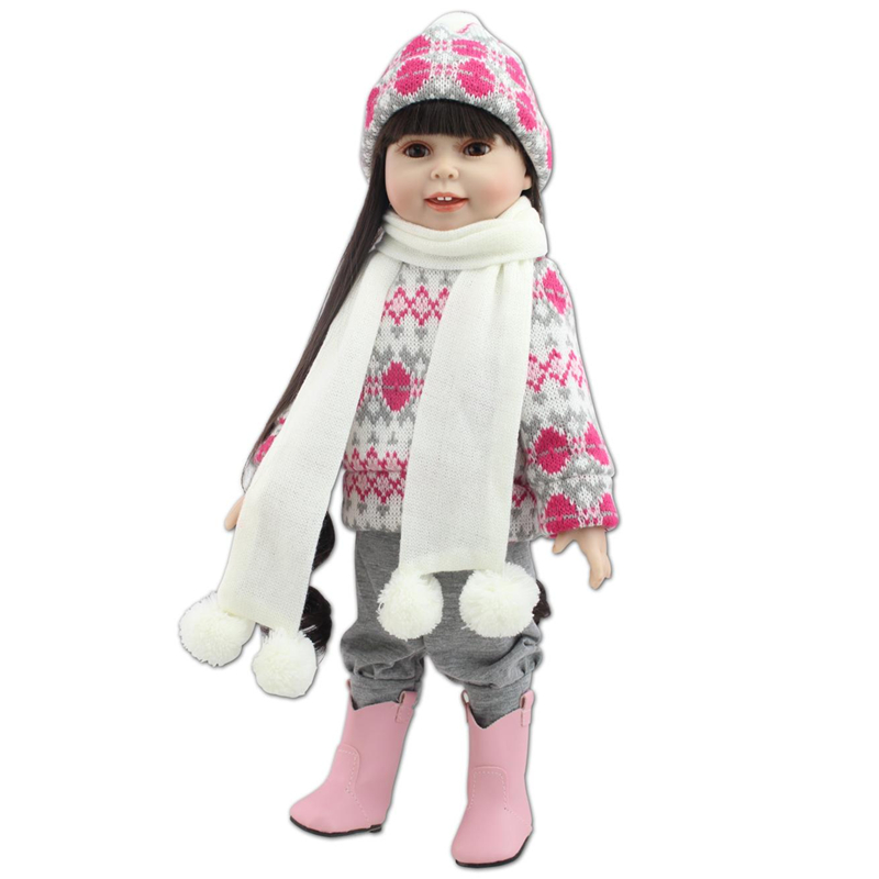 Multi Colors 18 Inch American Girl Doll Fair Skin Princess Doll Cute Soft Plastic Reborn Dolls Babies Girl Dolls for Kid's Gift american girl dolls clothes 3 colors stewardess business attire hat sock cosplay for 18 inch doll accessories girl gift x 43