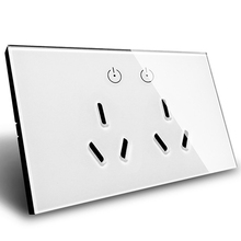 AU Plug Luxury White Touch Screen Control Tempered crystal Glass Panel Wall Light touch Switch socket,Double Wall Socket 15A rainbo brand luxury touch screen control tempered crystal glass panel wall light touch switch socket wall socket a29128ecw b