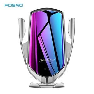 Image 1 - 자동 클램핑 자동차 무선 충전기 아이폰 X XS 삼성 S10 적외선 유도 10W Qi 무선 충전기 자동차 전화 홀더