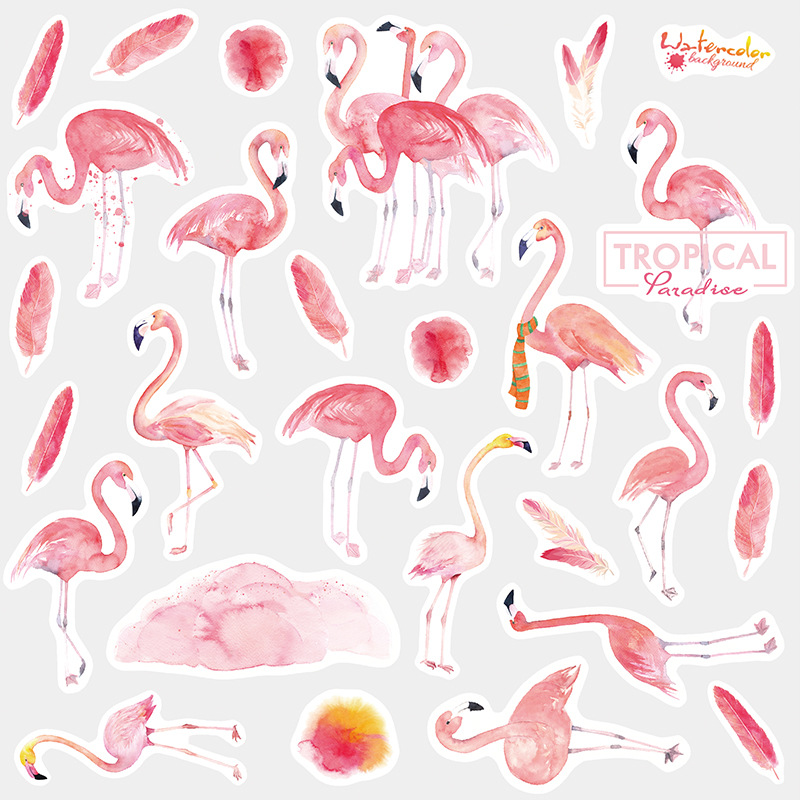 Cute Kawaii Animal Flamingo Sticker Package Cartoon Unicorn Decorative Stationery Sticker Scrapbooking DIY Diary Album Scrapbook diy cute kawaii wooden stamp animal cat dog bird tree stamps set for diary photo album scrapbooking stationery free shipping 610 page 1