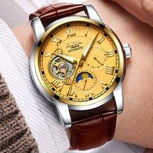 Mens Reloj Mecánico Reloj Esqueleto Relojes de Primeras Marcas de Lujo Montre Homme Relogio masculino correa de Cuero Geniune