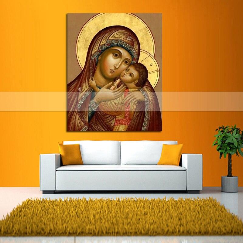 100% à la main Urijk sans cadre peinture à l'huile vierge marie jésus mur Art orthodoxe icône Religi peinture à l'huile modulaire peinture-in Peinture et calligraphie from Maison & Animalerie    3