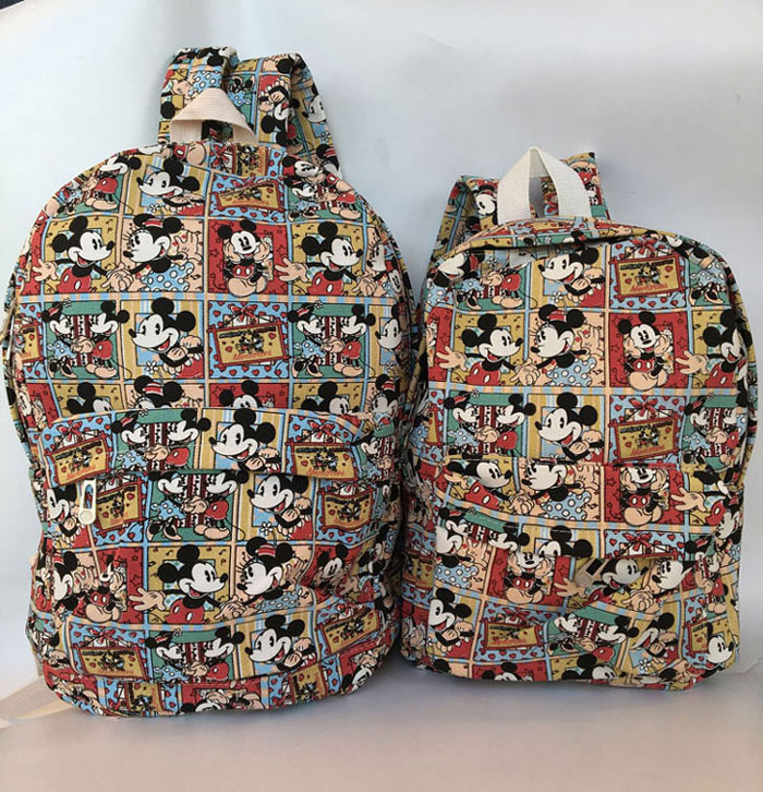 2018 Special Offer Hot Sale Unisex Backpack Mickey Minnie Canvas Backpack Zipper 12