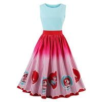 Sisjuly 1950s Vintage Dresses Summer Pink Knee Length Women 2017 O Neck Party Dress Rockabilly Print