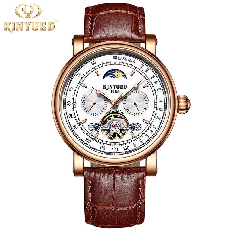 Nouveau Rose or blanc montres mécaniques pour hommes Top marque de luxe mode marron véritable cuir Blet Moonp hase montre Tourbillon