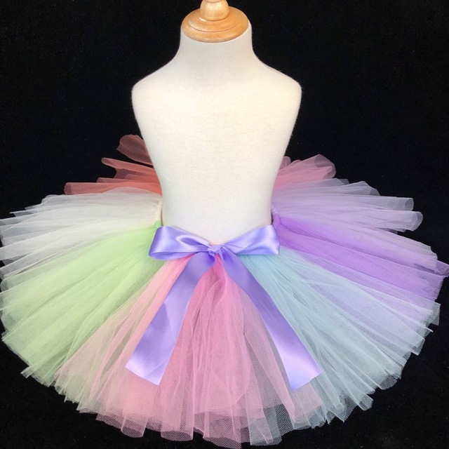 dde6fbbd01d Многоцветный для девочек фатиновые юбки-пачки Детские балетные пачки  Pettiskirt Нижняя юбка с фиолетовым бантом