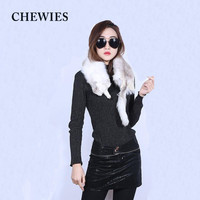 CHEWIES Autumn Winter Women Whole Skin Real Fox Fur Scarf Silver Parent child Children Full Fox Collar Shawl With Head Tail 7.5