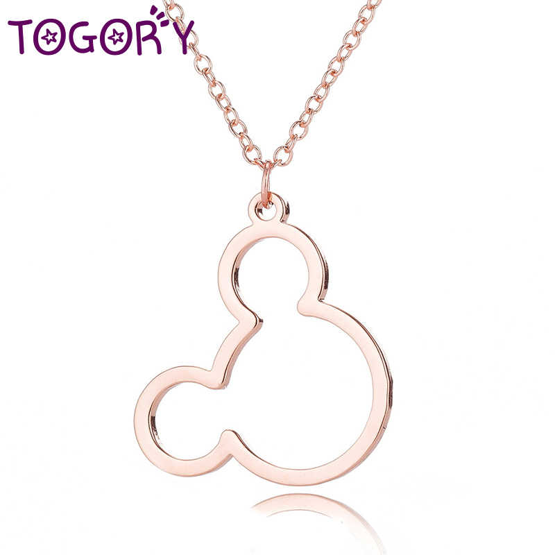 TOGORY Female Cute Mickey Fine Necklaces Silver Link Chain Necklace Women Girls Minnie Choker Necklace Collier Dropshipping