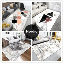 Simple modern Nordic Geometric living room home carpet Coffee table mat Marble texture Bedroom bedside blanket Machine washable nordic style large carpet living room sofa coffee table blanket simple modern bedroom room household machine washable