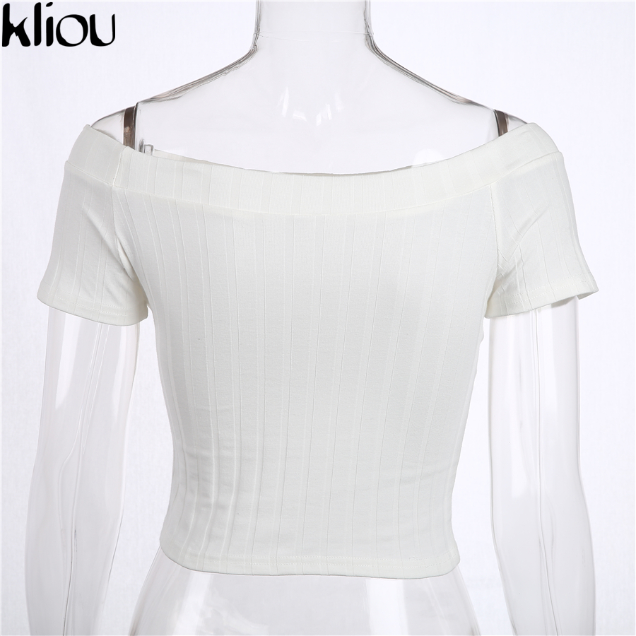 White t shirt crop top - Kliou 2017 Brand T Shirt Women Off Shoulder Crop Tops Black White Ribbed T Shirt Kyliejenner Sexy Tee Shirt Femme In T Shirts From Women S Clothing