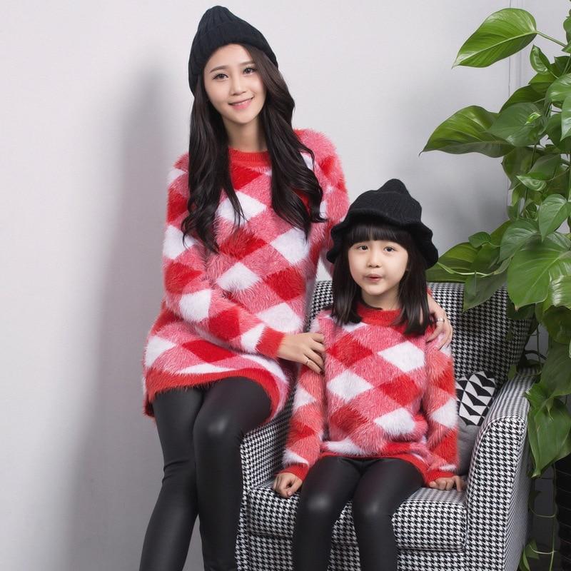 Mère et bébé fille vêtements de haute qualité chandail mère et fille automne hiver vêtements de famille correspondant tenues - 2