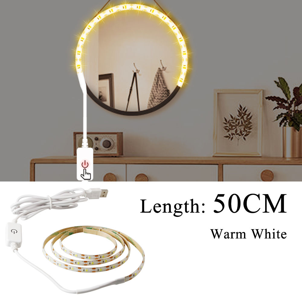 Makeup Vanity Mirror Light Strip Led USB Cable 5V Dimmable Dressing Table Lamp Tape Bathroom Make Up Cosmetic Mirror Lights Kit 6