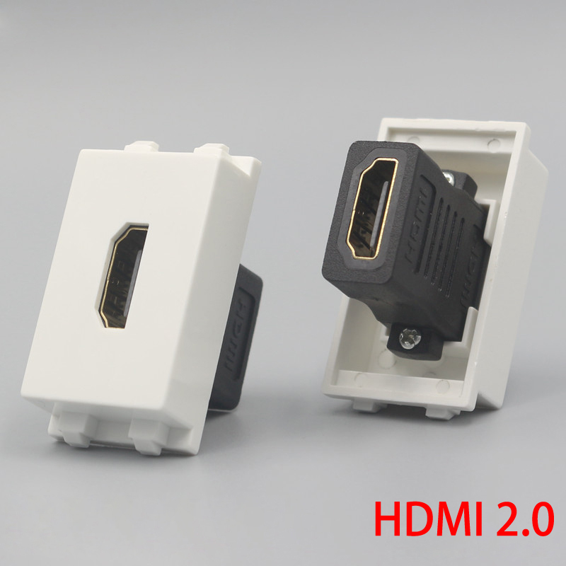 1 Unit HDMI2.0 Version Female To Female Plug Socket 23x36mm Slot Connector Directly Plug HDMI For Wall Face Plate