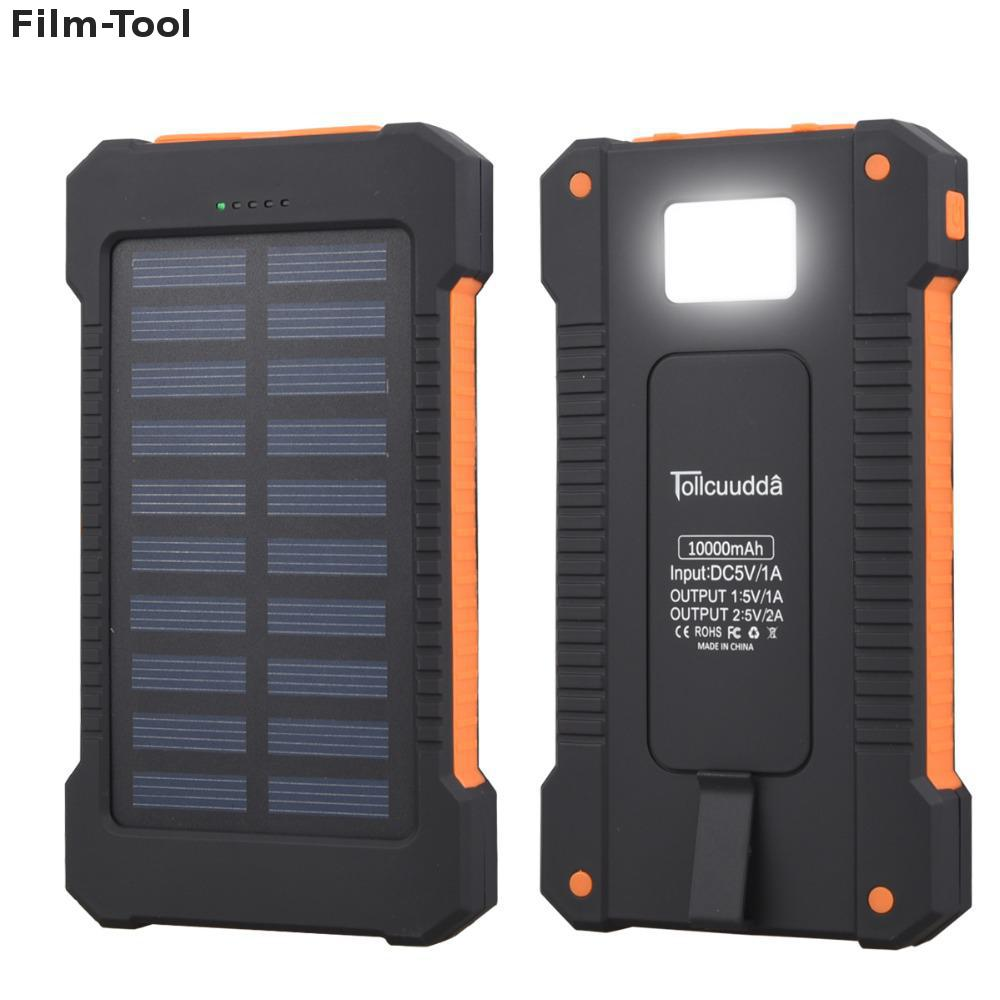 DHLSolar Power Bank Waterproof 10000mAh Solar Charger 2 USB Ports External Charger Solar Powerbank for Smartphone with LED Light 10000mah dual usb output ports universal light solar mobile power bank charger for cellphone tablet