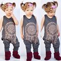 Kids 0-5T Toddler Baby Girl Onesie Cotton Blend Playsuit Romper Outfit Clothes Gray Color Bohemia Style Jumpsuit  21