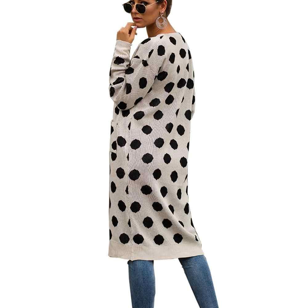 Длинный кардиган с узором в горошек, Женский трикотажный свитер с открытой передней частью, осеннее вязаное пальто с карманами в Корейском стиле с длинными рукавами