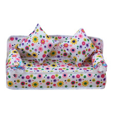 Mini Furniture Flower Pattern Sofa Couch + 2 Cushions for Baby Doll House Accessories -17 YJS Dropship