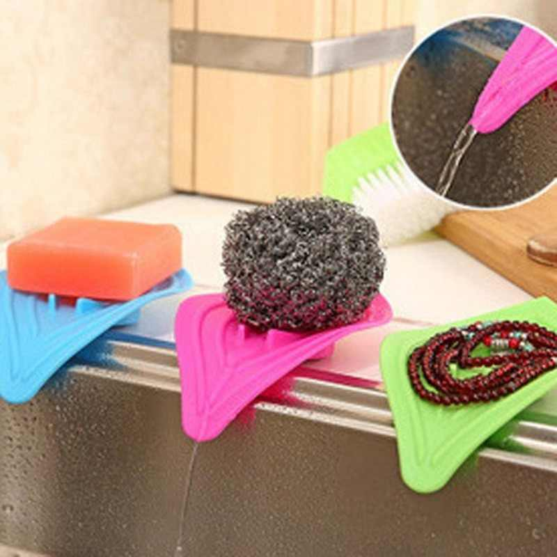Hoomall Sponge Soap Holder Shelving Rack Kitchen Sink Storage Rack Waterfall Drain Bathroom Dish Plate Tray Holder Organizer
