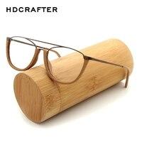 HDCRAFTER Rocznika Ramki Okularów Mężczyźni/Kobiety Drewna Metalu Drewniane Ramki Okularów Krótkowzroczność Ramki Okularów Do Czytania z Clear Lens