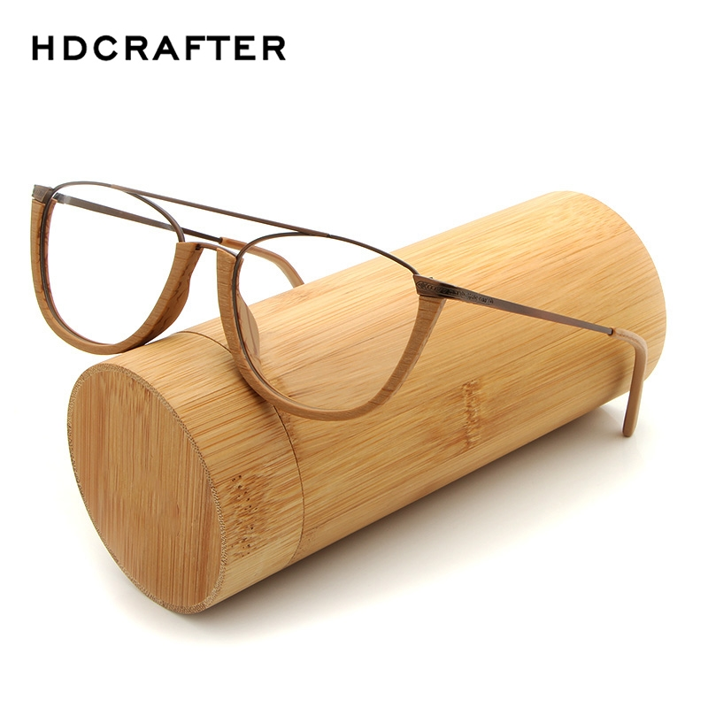 HDCRAFTER Vintage Eyeglasses Frames Men/Women Wood Metal Reading Myopia Glasses Frame With Clear Lens Wooden Eyewear Frames