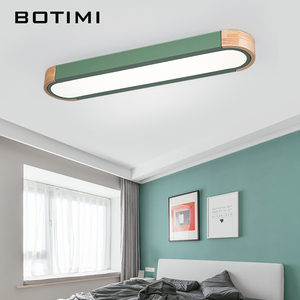 Image 4 - BOTIMI Office 220V LED Ceiling Lights With Metal Lampshade For Living Room Long Shaped Bedroom Wooden Surface Mounted Lighting